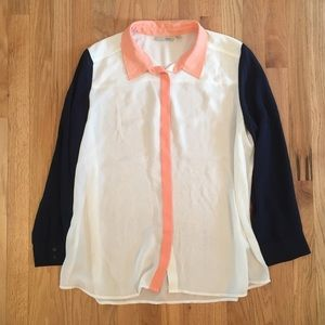 Halogen color block button down shirt XL